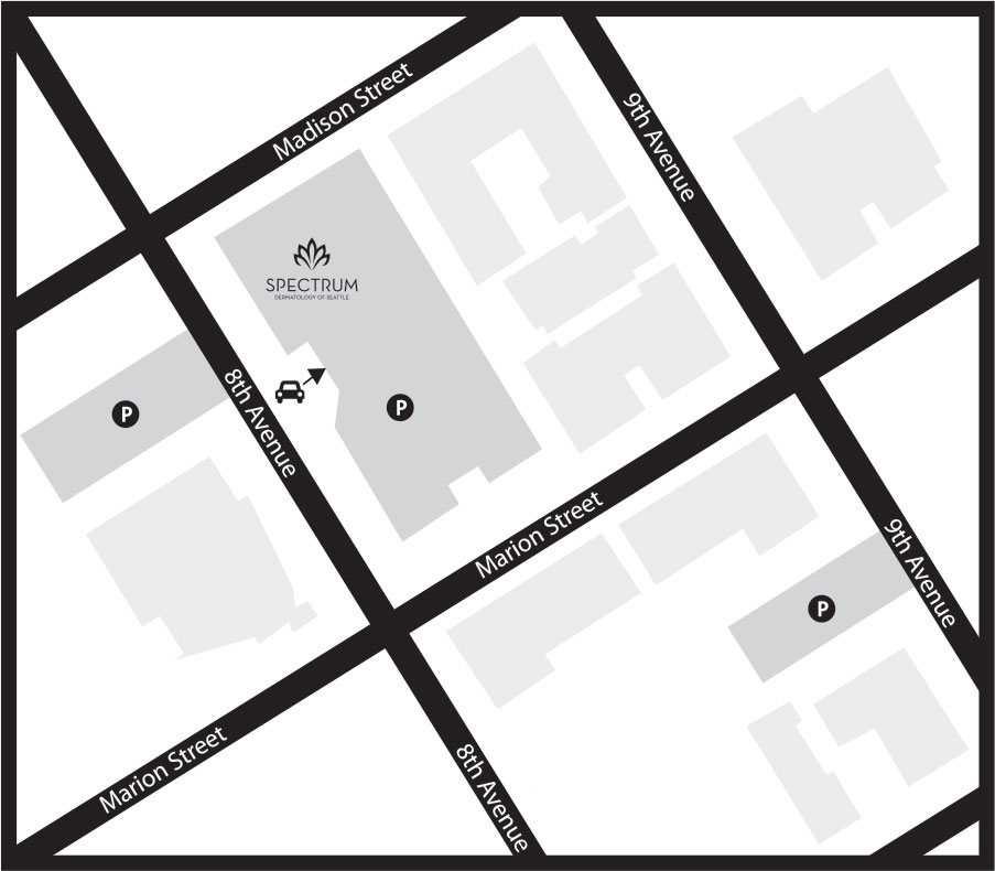 Directions for finding parking near Spectrum Dermatology of Seattle